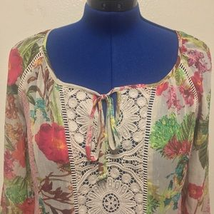 Meadow Rue Tops - Anthropology Paisley Crochet Peasant Blouse